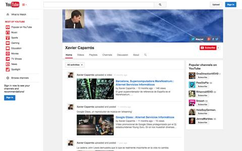Screenshot of YouTube Page youtube.com - Xavier Caparrós  - YouTube - captured Oct. 23, 2014