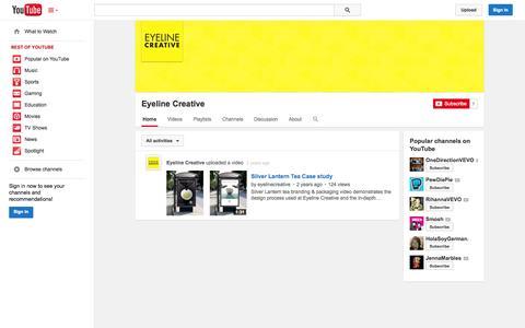 Screenshot of YouTube Page youtube.com - Eyeline Creative  - YouTube - captured Oct. 23, 2014