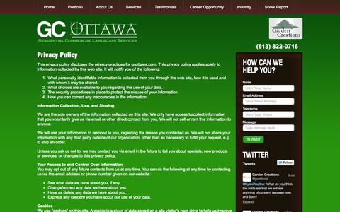 Screenshot of Privacy Page gcottawa.com - Privacy Policy - captured Oct. 2, 2014