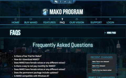 Screenshot of FAQ Page makoprogram.net - Advanced Speech Recognition Program • MakoProgram - captured Oct. 31, 2014