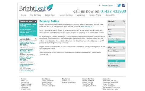 Screenshot of Privacy Page brightleaf.co.uk - Bright Leaf Recruitment Privacy Policy | Veterinary Recruitment Agency | - captured Oct. 5, 2014