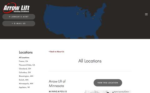 Screenshot of Locations Page arrowlift.com - All Locations — Arrow Lift - captured May 30, 2017