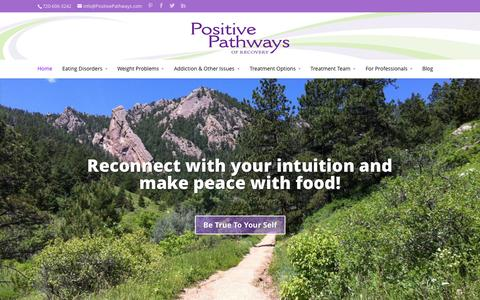 Screenshot of Home Page positivepathways.com - Outpatient Eating Disorder Treatment Denver Colorado - captured Oct. 8, 2014