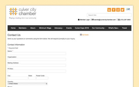 Screenshot of Contact Page culvercitychamber.com - Contact Us - Culver City Chamber of Commerce, CA - captured Sept. 30, 2018