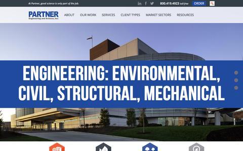 Screenshot of Home Page partneresi.com - Partner Engineering and Science, Inc. - captured June 10, 2016