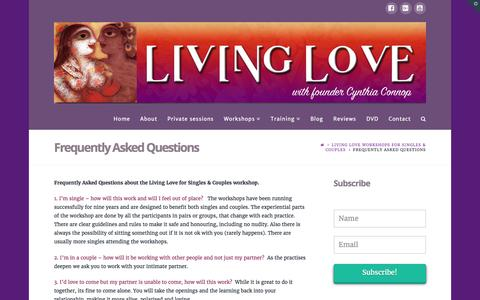 Screenshot of FAQ Page livinglove.com.au - Frequently Asked Questions - Living Love - captured May 21, 2017