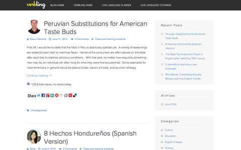 Screenshot of Blog verbling.com - Verbling Blog - Language Learning Tips about English, Spanish, French and others - captured Sept. 17, 2014