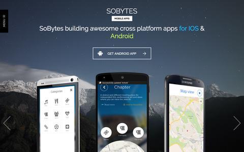 Screenshot of Home Page sobytes.com - Mobile apps - SoBytes - captured Feb. 15, 2016