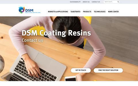 Screenshot of Contact Page dsm.com - CONTACT US | High-performance coating resins from DSM  | paint - captured Oct. 7, 2018