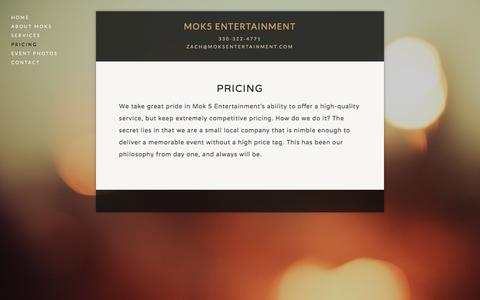 Screenshot of Pricing Page mok5entertainment.com - Pricing — MOK5 ENTERTAINMENT - captured Aug. 12, 2016