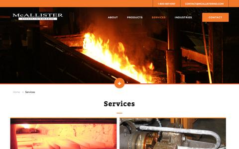 Screenshot of Services Page mcallisterind.com - Services - Heat Treating Processes and High Strength Bolt Production - captured Nov. 28, 2016