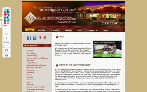 Screenshot of Home Page Terms Page meadandassociates.co - Divorce and Family Law Attorney | Glendale AZ | 623-412-2508 - captured Oct. 6, 2014