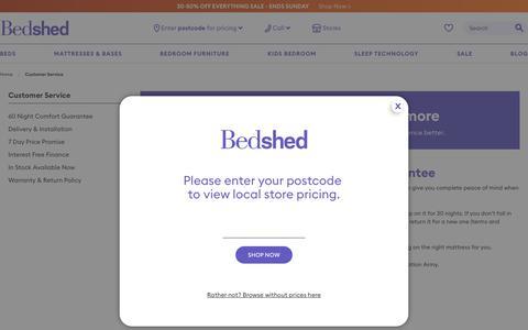 Screenshot of Support Page bedshed.com.au - Customer Service | Bedshed - captured Nov. 13, 2018
