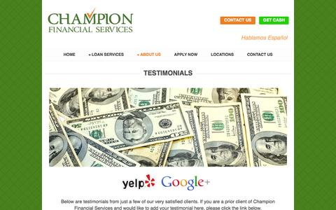 Screenshot of Testimonials Page championcashloans.com - Testimonials Trusted | Partners | Automotive - captured Oct. 27, 2014