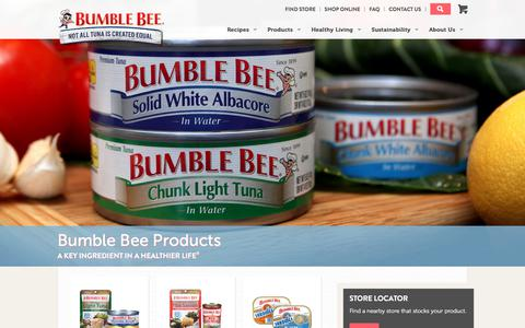Screenshot of Products Page bumblebee.com - Bumble Bee Foods | Canned Bumble Bee Tuna & Seafood Products - captured July 4, 2017