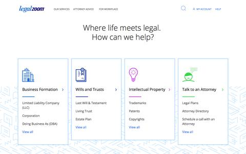 Screenshot of Home Page legalzoom.com - LegalZoom: Start a Business, Protect Your Family: LLC, Incorporate, Wills, Trademark, Legal Advice - captured April 1, 2018