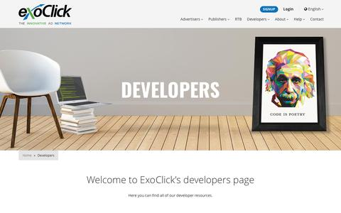Screenshot of Developers Page exoclick.com - ExoClick Developers - ExoClick - captured May 23, 2017