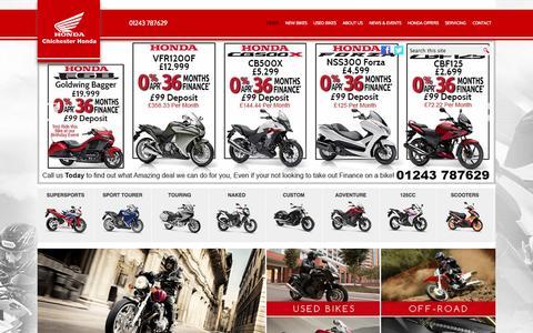 Screenshot of Home Page chichesterhonda.co.uk - Honda Motorcycle Dealers - Chichester Honda - captured Sept. 29, 2014