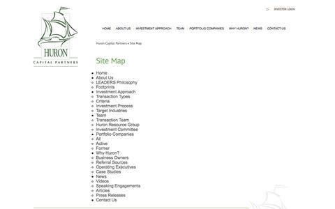 Screenshot of Site Map Page huroncapital.com - Site Map   Huron Capital Partners - captured Oct. 3, 2014