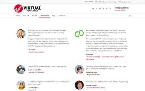 Screenshot of Testimonials Page virtualheadoffice.co.uk - Testimonials - Virtual Head Office - Supporting Start-up & Small Businesses - captured Oct. 26, 2014