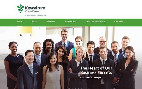 Screenshot of Home Page kewalramchanrai.com - Kewalram Chanrai Group - captured Oct. 7, 2017