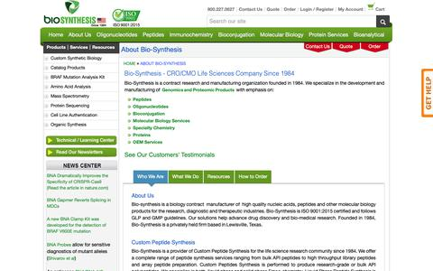 Screenshot of About Page biosyn.com - About Us - Bio-Synthesis - captured Oct. 5, 2018