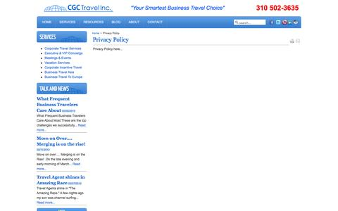 Screenshot of Privacy Page cgctravel.com - Privacy Policy - captured Sept. 26, 2014