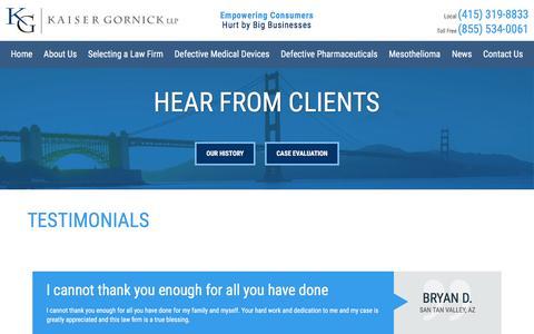 Screenshot of Testimonials Page kaisergornick.com - Defective Product Attorney in San Francisco | Testimonials - captured Nov. 27, 2016
