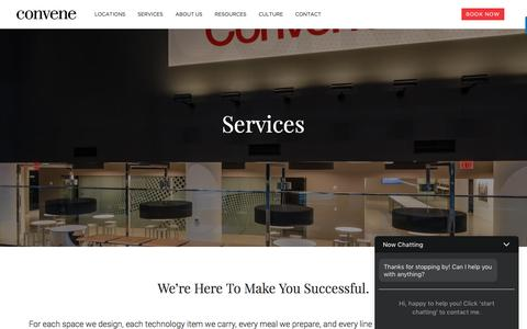 Screenshot of Services Page convene.com - Services - Convene - Meeting Rooms, Event Spaces, & Conference Centers - captured May 4, 2017