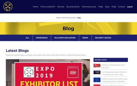 Screenshot of Blog locksmiths.co.uk - Blog by Master Locksmiths Association - captured July 15, 2019