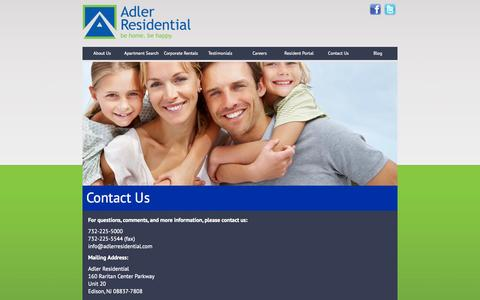 Screenshot of Contact Page adlerresidential.com - Contact Us | Adler Residential - captured Sept. 30, 2014