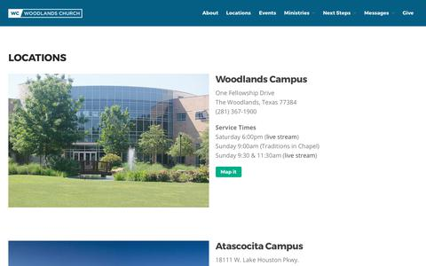 Screenshot of Locations Page wc.org - Locations - Woodlands Church - captured July 13, 2017