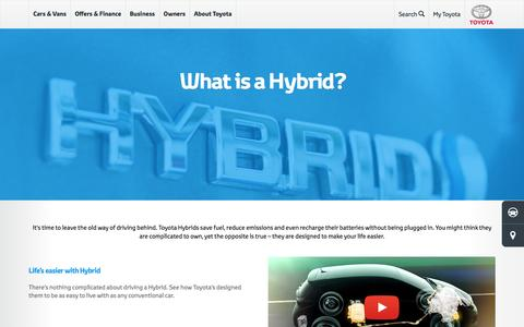 Screenshot of toyota.co.uk - What is a Hybrid | Hybrid Cars | Toyota UK - captured Aug. 18, 2016