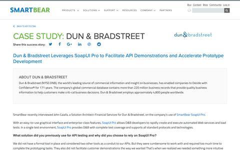 Screenshot of Case Studies Page smartbear.com - Case Study: Dun & Brandstreet | SmartBear - captured Dec. 6, 2018