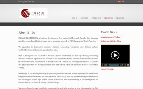 Screenshot of About Page mosaiccommerce.com - About Us - Mosaic Commerce - captured Oct. 25, 2014