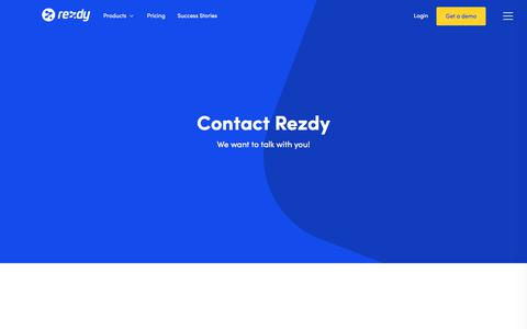 Screenshot of Contact Page rezdy.com - Contact Us : Rezdy - captured Sept. 13, 2018