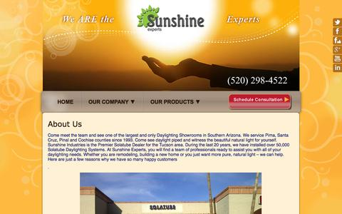 Screenshot of About Page sunshineexperts.com - About Us - Sunshine Experts - captured Oct. 8, 2014