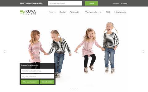 Screenshot of Home Page kuvamuisto.fi - Kuvamuisto - Koulukuvaus, päiväkotikuvaus, harrastekuvaus, ryhmäkuvaus, joukkuekuvaus - captured Oct. 16, 2018
