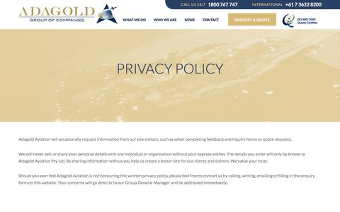 Screenshot of Privacy Page adagold.com.au - Privacy Policy | Adagold - captured Feb. 5, 2016