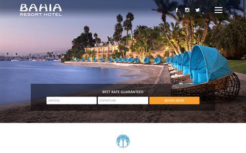 Screenshot of Home Page bahiahotel.com - San Diego's Premier Beachfront Resort   Bahia Resort Hotel - captured Sept. 22, 2018
