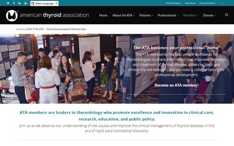 Screenshot of Signup Page thyroid.org - Become an ATA Member - captured June 27, 2017