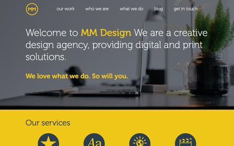 Screenshot of Home Page mmdesign.co.uk - MM Design - Brand Development, Web and Graphic Design - captured Oct. 3, 2014