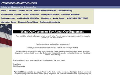 Screenshot of Testimonials Page phoenixequipment.com - Specialized Dispense Systems for the Fiberglass Industry - captured Oct. 2, 2014