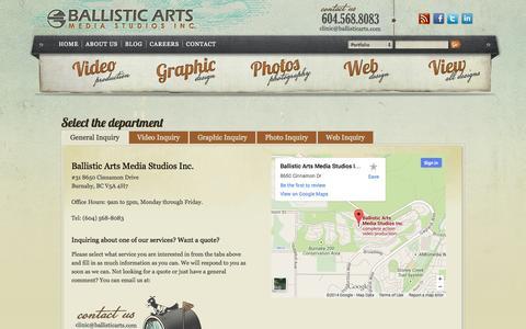 Screenshot of Contact Page ballisticarts.com - Contact - BC creative agency, Vancouver marketing companies - Ballistic Arts Media Studios Inc. - captured Sept. 19, 2014
