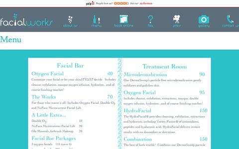 Screenshot of Menu Page thefacialworks.com - Menu | facialworks - captured Oct. 26, 2014