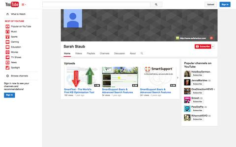 Screenshot of YouTube Page youtube.com - Sarah Staub  - YouTube - captured Oct. 22, 2014