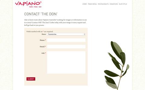 Screenshot of Contact Page Press Page vapiano.com.au - Media / Contact | Vapiano Australia - captured Oct. 21, 2018