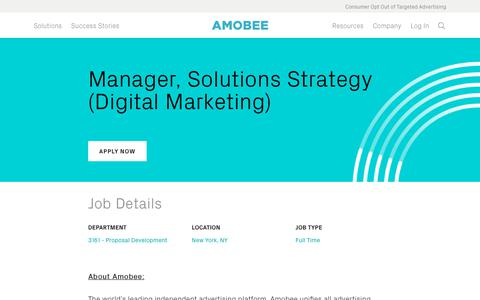 Screenshot of Jobs Page amobee.com - Manager, Solutions Strategy (Digital Marketing) — Amobee - captured Nov. 18, 2019