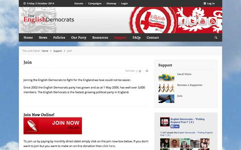 Screenshot of Signup Page englishdemocrats.org.uk - Join - captured Oct. 3, 2014