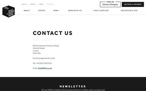 Screenshot of Contact Page biid.org.uk - Contact Us   British Institute of Interior Design - captured May 15, 2019